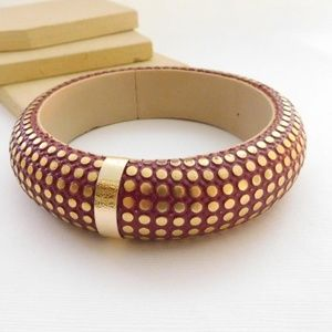 Vintage 80s India Red Gold Chunky Bangle Bracelet